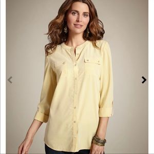 Chico's Sunglow Secret Silk Banded Button Down